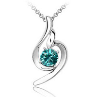 Fashion 18K white gold plated austrian crystal lucky angel pendant necklace -- chromophous