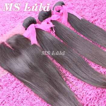 Free Shipping 3pcs Brazilian virgin hair bundles with 1pc 4X4 size top Lace closure Straight human hair weaving Ms lula hair