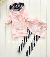 Retai ~1Set New girls Mickey hoodies+striped skirt pants leggings 2pcs clothing sets minnie kids cartoon suits