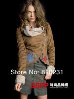 2013 Desigual Imitation fur leather women's patchwork coat  fashion warm coat free shipping