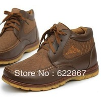 Free Shipping 2013 Winter Whosaler Men's Lace-up Leather OutdoorSnow Boots Male Popular Cotton Warm Shoes Sneaker