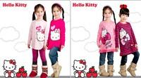 2013 New Long Sleeve Hello Kitty Girls T-shirts Children Cartoon Long Tee Kids Autumn lovely tops Baby 100% cotton t shirt Sell