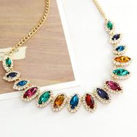 Free shipping Wholesale -2013 Retro palace luxury gem stone necklace short section of the bride wedding necklace jewelry
