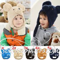 New Arrival Baby Fleece WInter Hats Toddler Baby Earflap Hats Children Cartoon Bear Hats Beanie 10pcs Free Shipping MZD-055