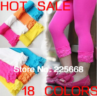 HOT&Big Sale!!In Stock 10pcs/lot Baby girl short lace leggings Candy color girls velvet short tights 18 colors For 2-12years