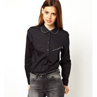 Haoduoyi zipper decoration border black single zipper pocket female long-sleeve autumn and winter shirt