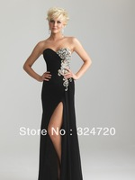 2014 new teal sweet heart ruched empire waist beaded crystal  black long chiffon prom dress formal dance gown 6623