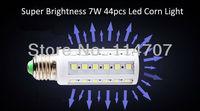 High Brightness E27/E14/B22 7W 44LEDs SMD 5050 Corn Light Bulb Lamp Warm White / Pure White 220-240V /110V  Free Shipping