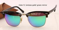 brand new in case original sunglasses clubmaster 3016 1145/19 tortoise/gold green flash lens 51mm men women brand name glasses