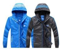 Free Shipping New Arrival Men Sportswear Hoodie Jacket Hot Sale Spring Fashion Windbreaker Zipper Coat Extra Size Black/Blue