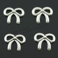 100pcs/lot 11*9mm 2 colors Antique Silver, Antique Bronze Tiny Bow Charms