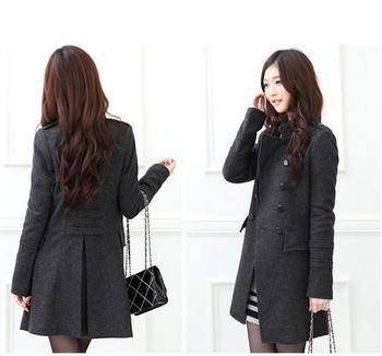 2013 осень и зима женщин средней длины тонкий двубортный шерстяное пальто плюс размер ...