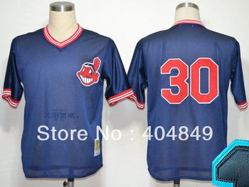 AA+ 30 multi type Joe Carter jersey, Indians navy blue throwback authentic,women men custom baseball free shipping