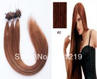 Alibaba hot sales straight 12.14.16.18.20.22.24.26.28.30.32 inch Micro Loop Ring Beads Hair #30 Auburn Brown Color 50g
