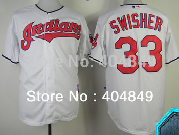 AA+ 33 multiple Nick Swisher jersey,Indians new home white gray ivory navy authentic,women youth custom baseball free shipping