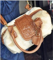 Hot new 2013 fashion women winter fur bag retro designers brand pu leather faux bags  women shoulder Handbags 2