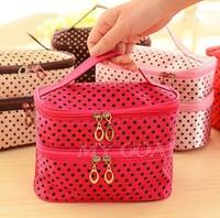 Hanging Toiletry Travel Wash Organizer Kit Case Cosmetic Makeup Dot Zip Bag[24010113]