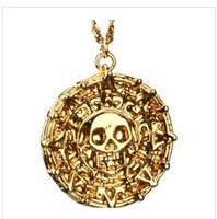 Pirates of The Caribbean Aztec Gold or Antique Gold Skull Pendant Necklace Exaggerated Jewelry Men Fashion Vintage Necklace 2013