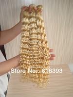 Peruvian Virgin Hair Blonde #613 Color Deep Wave 100% Virgin Human Hair--Human Hair Weave Curly