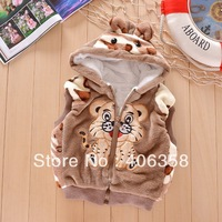 newest Korea style!Warm and thicker girl/boy waistcoat with tiger design vivid kids vest autumn and winter outwear 8301