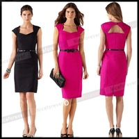2015 vintage Women's Square neck Office work Bodycon bandage backless black business Pencil casual women summer midi dress 568