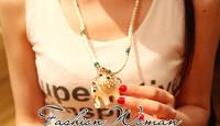Woman Fashion Jewlry Vintage Delicacy Elephant Pendant Necklace Nature Turquoise Sweater Chain Girl Friends Souvenir Gift