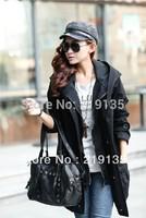 Brand 2014 autumn new Korean ladies large size thin false two plus size hooded windbreaker jacket Free shipping