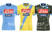 hot 13/14 SSC Napoli home blue soccer football jersey best thai quality soccer uniforms embroidery logo .free ship