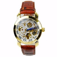 New 5pcs/lot Women Mens Automatic Mechanical Watch Wrist Watch Red PU Leather Belt White and Golden Dial