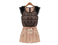 New Rompers lace openwork stitching collision color ladies Siamese culottes summer women dress
