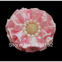Free Shipping 3inch baked satin flower hair accessories hair flower apparel garment headband applique flower with pearl &button