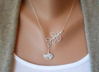 Hot Sale Necklaces Fashion 2013 6pcs Women Jewelry 2013 Antique Silver Bird And Branch Charm Necklace