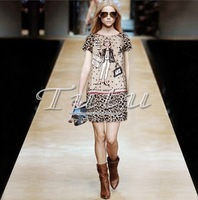 Free Shipping 2013 Runway Fashion Lady Leopard Print 100% Real Silk Dress Women With XXL Bust 100CM