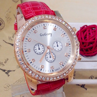 Hot sale High Quality Brand Simple Style Leather strap watches women Crystal rhinestone dress Quartz Wrist Watch go066