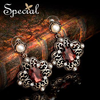 Special 2014 New Design Vintage Bronze Flower Skeleton Earrings  Red Zircon Heavy Pearl Stud Earrings Free Shippings EH13A092007
