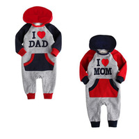 Free Shipping I Love MOM & DAD Baby Autumn hooded romper Grow Long Sleeve Bodysuit Jumpsuit Outwear 9483