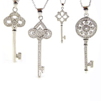 Free Shipping New Charm Silvering Mosaic Zircon Key Pendant Necklace Beads For Women Wedding Jewelry Mean Forever Love