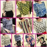 A95*2014 New Summer/Autumn Retro Puff Long Sleeved Shoulder Padded Floral Print Chiffon Blouse Tops Tees Shirts roupas femininas