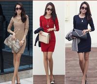 autumn new 2014 summer women knee-length dress ol elegant career dress woman plus size tunic  XXL XXXL office corset dress