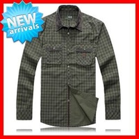 2013  Good  Quality  Men's  Big   Size (XL-5XL) Brand  Long  Sleeve  Thick   100% Cotton Grids Cotton  Dress Shirts G1736