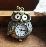 Reloj De Bolsillo Free shipping wholesale  fashion cool owl bronze quartz pocket watch cartoon Watch Pocket Owl Watch
