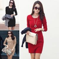 free shipping dresses new fashion 2014 autumn winter women work Formal long sleeve korean tight knee womens office wear dress