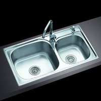 8345 quality stainless steel double bowl  kitchen sink slot 83*45*21cm