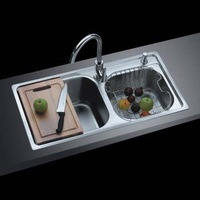 8143 quality stainless steel double bowl kitchen sink slot 81*43*21cm