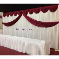Burgundy Swag Wedding Backdrop\Wedding Background 3M*6M Free Shipping