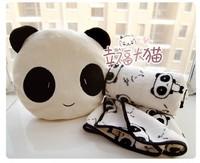 Free shipping holiday sale birthday gift quality cute plush panda pillow with warm blanket plush cushion stuffed toy
