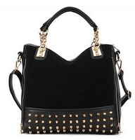 Hot Sale 2013 nails Velvet women's handbag  Autumn and winter nubuck Black/ Blue Fashion shoulder bag