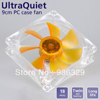 akasa PC case or heatsink fan 9.2cm two ball bearing quiet fan 8000 Hours yellow leaf