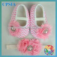 Sweet baby chevron crib choses with shabby flower headband set  24 sets/lot