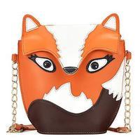 2014 Hot Popular Fox Owl Bags Cute Cartoon Shoulder Bags for Women Retro Messenger Bags PU Leather Mini Chain Bags for Female